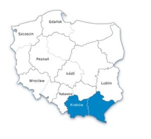 Mapa Polski - oddział południowo-wschodni