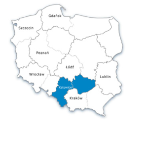 Mapa Polski - oddział południowy