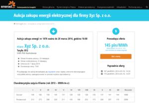 Przykładowa aukcja zakupu prądu w enerad.pl