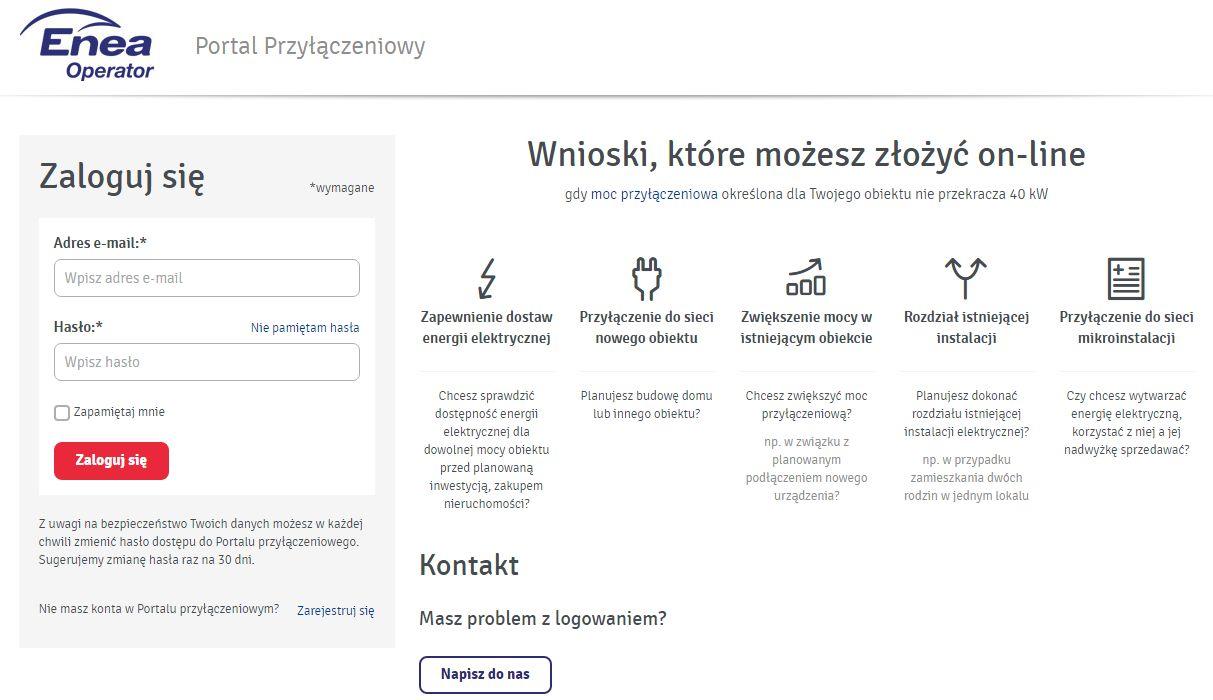 Screen z Portalu Przyłączeniowego firmy Enea Operator