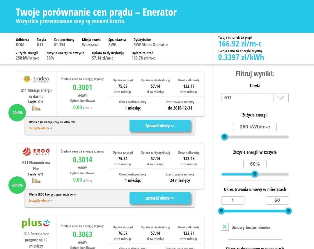 porównywarka cen prądu enerad.pl - wyniki porównania cen prądu