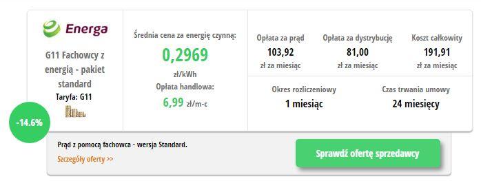Energa Fachowcy z energią- wynik z porównywarki cen prądu
