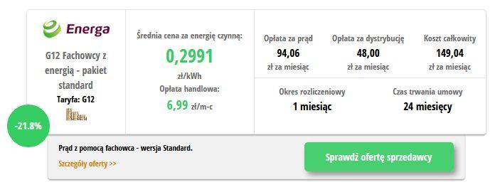 Energa Fachowcy z energią G12 - wynik z porównywarki cen prądu