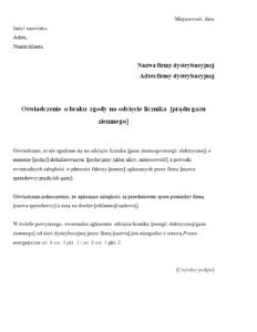 Wzór pisma: oświadczenie o braku zgody na odcięcie licznika