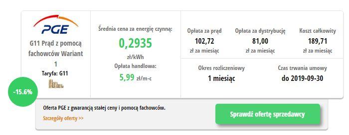 PGE Prąd z pomocą fachowców - wynik z porównywarki cen prądu