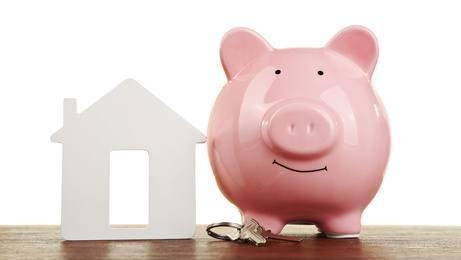 świnka skarbonka stojąca przy domku z tektury