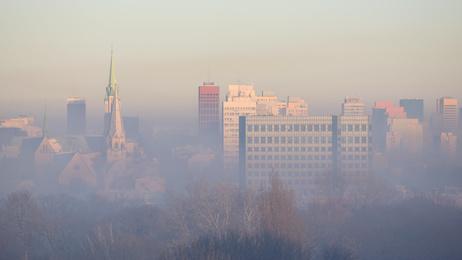 widok na smog w Łodzi