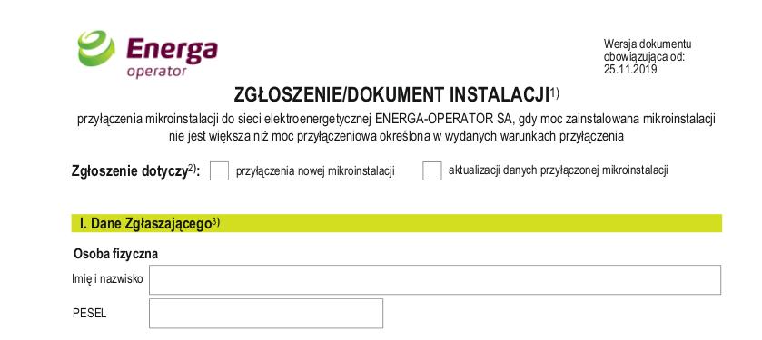 Wniosek Zgłoszenie instalacji fotowoltaicznej Energa - pdf do pobrania.