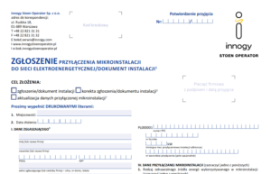 Wniosek Zgłoszenie instalacji fotowoltaicznej Innogy - pdf do pobrania.
