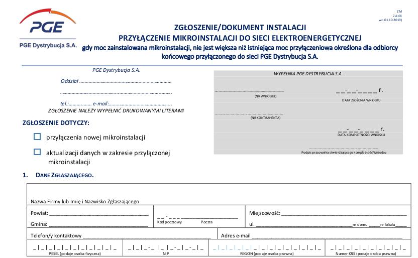 Wniosek Zgłoszenie instalacji fotowoltaicznej PGE - pdf do pobrania.